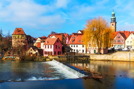 half timbered house: Scenic spring view of the Old Town pier ancient medieval architecture of Lauf an der Pegnitz in Nurnberger Land district of Bavaria, Germany