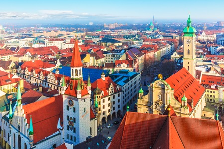 street view: Scenic aerial panorama of the Old Town architecture of Munich, Bavaria, Germany