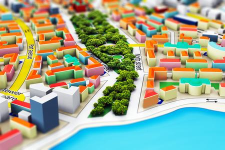 Creatieve abstracte GPS-satelliet navigatie, reizen, toerisme en locatie routeplanning business concept: macro uitzicht op de miniatuur kleur stad kaart met 3D-gebouwen met selectieve focus effect Stockfoto