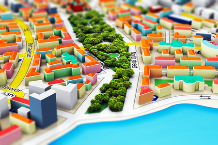 Creative abstract GPS satellite navigation, travel, tourism and location route planning business concept: macro view of miniature color city map with 3D buildings with selective focus effect