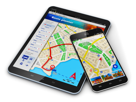 Creative abstract GPS satellite navigation, travel, tourism and location route planning business concept: modern black glossy touchscreen smartphone or mobile phone and tablet computer PC with wireless navigator map service internet application on screen