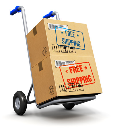 Creative abstract shipment, logistics and retail parcel goods delivery commercial business concept: metal hand truck or trolley with stack of corrugated cardboard package boxes with Free Shipping text label sticker stamp isolated on white background photo