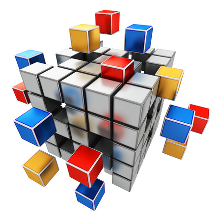 cubic: Creative abstract business teamwork, internet and communication concept: colorful cubic structure with assembling metallic cubes isolated on white background