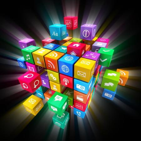 interaccion social: Aplicaciones m�viles creativos, tecnolog�a de los medios sociales y el concepto de Internet de redes de comunicaci�n web: colorido cubo con nube de iconos de aplicaciones de color sobre fondo negro con efecto brillante