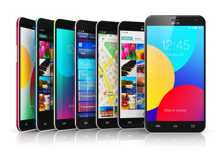 Creative abstract mobile phone wireless communication technology and mobility business office concept: group of modern metal black glossy touchscreen smartphones with colorful application interfaces with color icons and buttons isolated on white backgroun