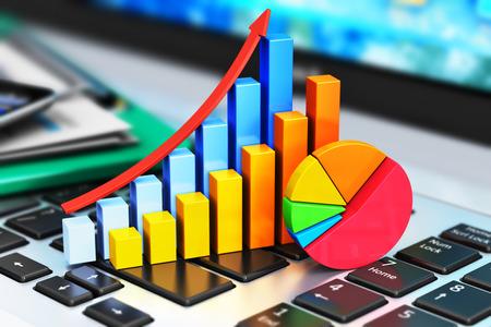 Kreative abstrakten mobiles Büro, Börsenhandel, Statistiken Buchhaltung, Finanzentwicklung und Bankgeschäft Konzept: Farbe Wachstum Balkendiagramm und Kreisdiagramm auf modernen Laptop oder Notebook-PC-Tastatur und andere Stilleben statio