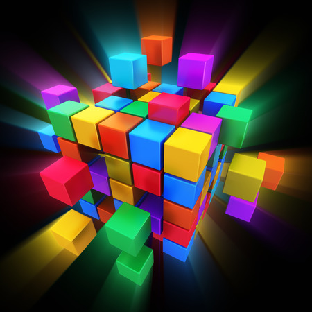 business network: Creative abstract business teamwork, internet, multimedia and communication concept: colorful cubic structure with assembling color cubes on black background with glowing effect