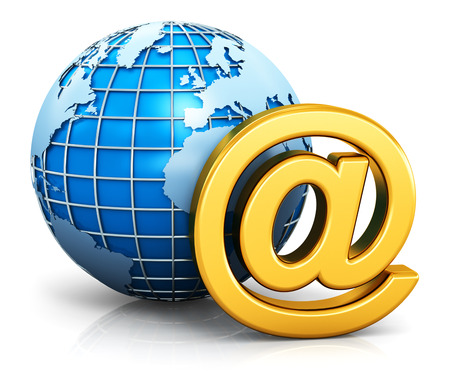 e work: Creative abstract e-mail internet global communication web business concept: gold email AT symbol with blue world Earth globe isolated on white background with reflection effect