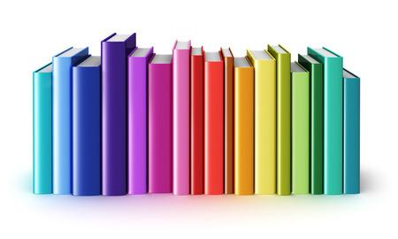 Sciences Creative abstraite, de connaissances, éducation, de nouveau à l'école, affaires et d'entreprise concept de la vie de bureau: arc-en-livres à couverture rigide de couleur isolé sur fond blanc