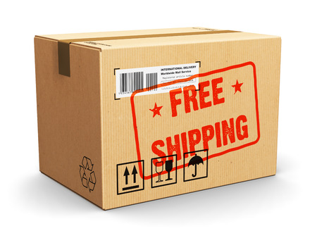 product box: Creative abstract shipment, logistics and retail parcel goods delivery commercial business concept: corrugated cardboard package box with Free Shipping text label sticker stamp isolated on white background