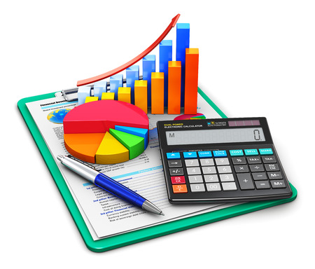 Creative abstract business finance, tax, accounting, banking, statistics and money analytic research concept: office electronic calculator, bar graph and pie diagram and pen on financial reports in clipboard with colorful data isolated on white background