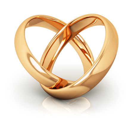 Creative abstract love, engagement, proposal and matrimony concept: macro view of pair of shiny golden wedding rings connected into heart shape isolated on white background with reflection effect Stockfoto