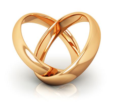 Creativo abstracto amor, compromiso, oferta y el matrimonio concepto: visión macro de par de brillantes anillos de bodas de oro conectados en forma de corazón aislado en fondo blanco con efecto de reflexión