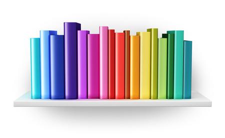 創造的な抽象的な科学、知識、教育、学校、ビジネスおよび企業のオフィスの環境の概念に戻る: 白い背景に分離された虹色のハードカバーの本と本