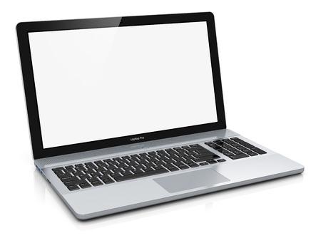 創造的な抽象的なコンピューター技術とインターネット web 通信概念: 近代的な金属製オフィスのラップトップ PC や反射効果と白色の背景上に分離さ