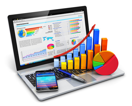 background information: Creative abstract mobile office, stock exchange market trading, statistics accounting, financial development and banking business concept: modern laptop or notebook computer PC with stock market application software, growth bar chart, pie diagram, ballpoi