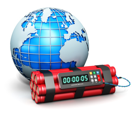 Creative abstract world war global threat military technology concept: blue metallic Earth globe planet and time bomb explosive dynamite with digital countdown timer clock isolated on white background photo