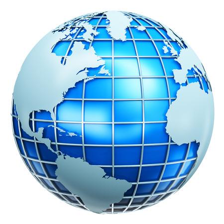 Abstraite communication créative mondiale des affaires, ordinateur internet en télécommunications et de la technologie Web dans le monde entier concept de réseau d'entreprise: Blue Earth métallique monde planète sphère avec carte du monde isolé sur fond blanc Banque d'images