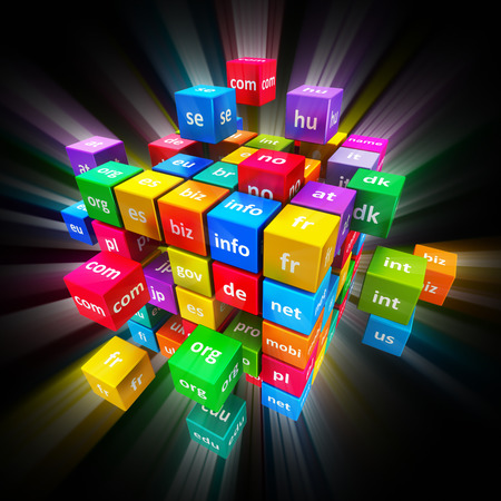 domain: Creative abstract global internet communication PC technology and web telecommunication business computer concept: group of colorful cubes with color domain names on black background with glowing effect Stock Photo