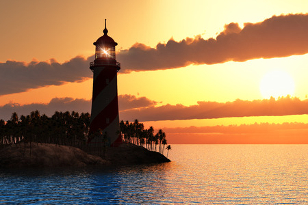 바다에서 섬에 등대와 빨간 극적인 일몰의 아름 다운 풍경