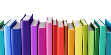 創造的な抽象科学、知識、教育、学校、ビジネスおよび企業のオフィスの環境の概念に戻る: 白い背景で隔離虹色のハードカバーの本 写真素材