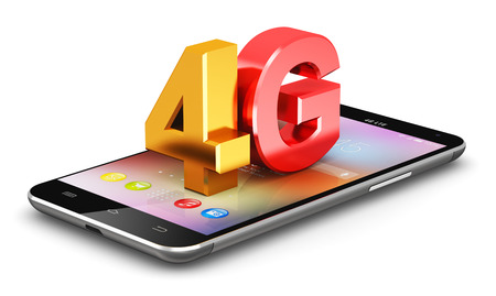 high speed internet: Creative abstract mobile telecommunication cellular high speed data connection business concept: red and yellow metallic 4G LTE wireless communication technology logo, symbol, icon or button on modern metal black glossy touchscreen smartphone with colorfu