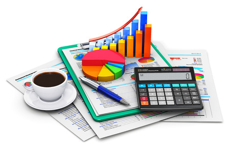 Creative abstract business finance, tax, accounting, banking, statistics and money analytic research concept: office electronic calculator, bar graph and pie diagram, cup of fresh hot coffee drink and pen on financial reports in clipboard with colorful da