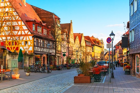 Scenic sunset view of ancient buildings and street architecture in the Old Town of Furth, Bavaria, Germany