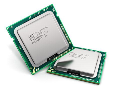 processors: Modern central computer processors CPU isolated on white background with reflection effect