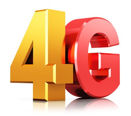 4g: Creative abstract mobile telecommunication cellular high speed data connection business concept: red and yellow  metallic 4G LTE wireless communication technology icon, symbol, icon or button isolated on white background with reflection effect
