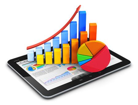 Bureau Creative abstraite de l'Internet mobile, en ligne négociation sur le marché boursier, les statistiques web comptabilité, le développement financier et le concept de l'activité bancaire: moderne ordinateur tablette tactile PC avec l'interface du logiciel de demande de bourse, la croissance b