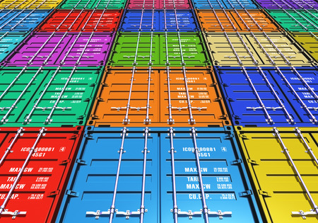 merchandise: Creative abstract freight transportation, shipment and logistics business industry concept: background from group of color metal cargo containers