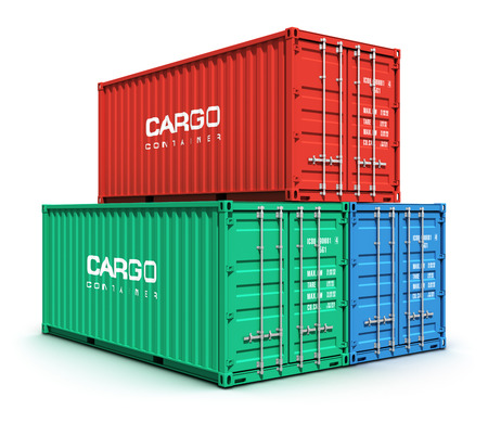 merchandize: Creative abstract shipping, logistics and freight transportation commercial business trading industrial concept: set of stacked metal color cargo containers isolated on white background