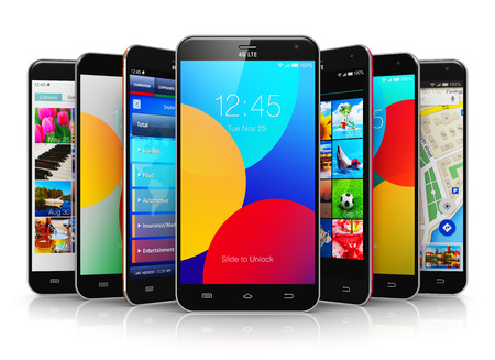 wireless communication: Creative abstract mobile phone wireless communication technology and mobility business office concept: group of modern metal black glossy touchscreen smartphones with colorful application interfaces with color icons and buttons isolated on white backgroun