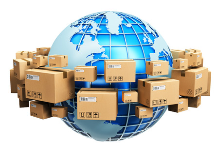 Creative abstract global logistics shipping and worldwide delivery business concept: blue Earth planet globe surrounded by heap of stacked corrugated cardboard boxes with parcel goods isolated on white background