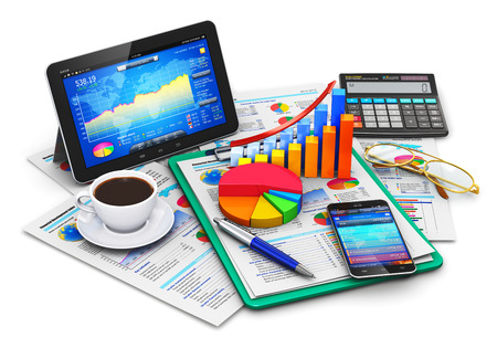 Creative abstract mobile office stock exchange market trading statistics accounting financial development and banking business concept: modern tablet computer PC and black glossy touchscreen smartphone or mobile phone with stock market application softwar Imagens