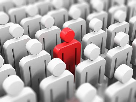 liderazgo: Singularidad creativa abstracta individualidad y concepto de negocio de liderazgo: solo pueblo 3D rojos figuran en el grupo lleno de figuras blancas con el efecto de enfoque selectivo