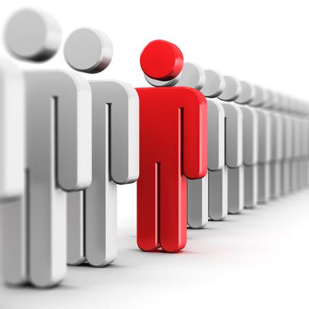 Kreative abstrakten Individualität Einzigartigkeit und Führung Business-Konzept: single rot 3D Leute Abbildung in Reihe der weißen Figuren isoliert auf weißem Hintergrund mit selektiven Fokus-Effekt