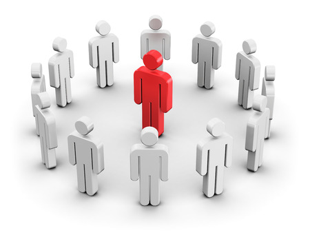 Creative abstract leadership teamwork individuality and social media network business internet web concept: single red 3D people figure inside of group of white man figures arranged in circle isolated on white background