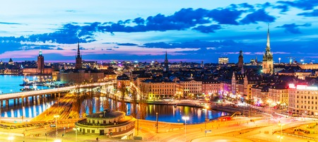 Scenic summer evening panorama of the Old Town (Gamla Stan) pier architecture in Stockholm, Sweden Stock Photo