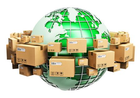 Creativi logistica astratti globali, il trasporto, le imprese di fornitura a livello mondiale e il concetto di ecologia: Pianeta verde globo terrestre circondato da mucchio di impilate scatole di cartone ondulato con le merci pacchi isolato su sfondo bianco