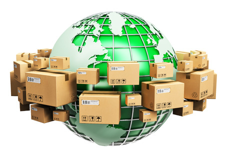 Creative abstract global logistics, shipping, worldwide delivery business and ecology concept: green Earth planet globe surrounded by heap of stacked corrugated cardboard boxes with parcel goods isolated on white background Banque d'images