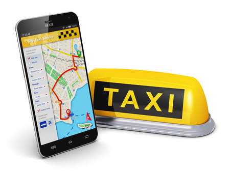 transportation icons: Creative abstract travel, tourism sightseeing and internet web taxi service business transportation concept: modern black glossy touchscreen smartphone with online satellite GPS taxi application software on screen and yellow taxi sign isolated on white ba