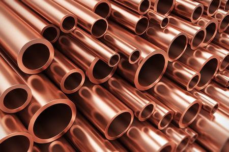 Pesada industria creativa abstracta no ferrosos metalúrgico y de fabricación industrial concepto de producción de negocios: Montón de brillantes tubos de cobre metálico con efecto de enfoque selectivo