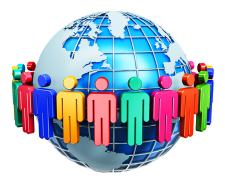 Creative abstract global communication, social media network and business partnership, success and teamwork internet web concept: group of 3D color people figures joined in circle around blue Earth planet globe isolated on white background Banco de Imagens