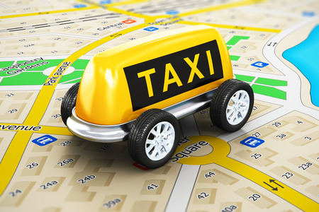 Creative abstract travel, tourism sightseeing and internet web taxi online service business transportation concept: macro view of toy car made from yellow taxi sign with attached auto wheels on color city map with selective focus effect