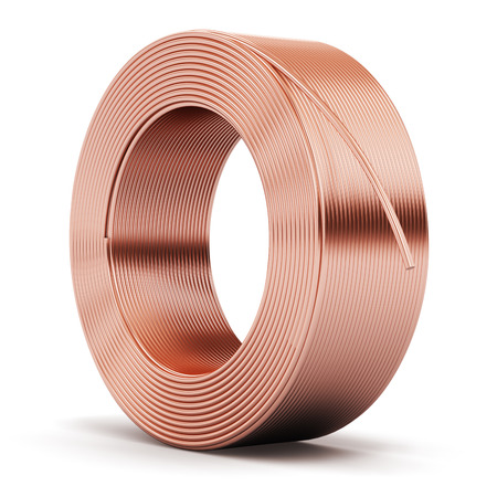 Creative abstract heavy non-ferrous metallurgical industry and industrial manufacturing business production concept: hunk of shiny metal copper electrical power wire cable isolated on white background