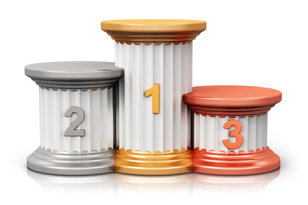 Creative abstract winning business competition and leadership award ceremony and success and achievement concept: pedestal with first second and third place with gold silver and bronze numbers isolated on white background with reflection effect