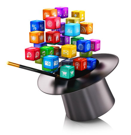 magia: Aplicaciones móviles de tecnología creativa abstracta de los medios y las redes de Internet concepto de comunicación web: nube de cubos metálicos de colores con iconos de las aplicaciones de color y sombrero mágico con la varita mágica aislado en fondo blanco con efecto de reflexión Foto de archivo