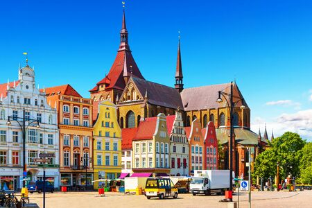 rostock: Scenic summer view of the Markplatz Old Town Market Square architecture in Rostock Mecklenburg region Germany